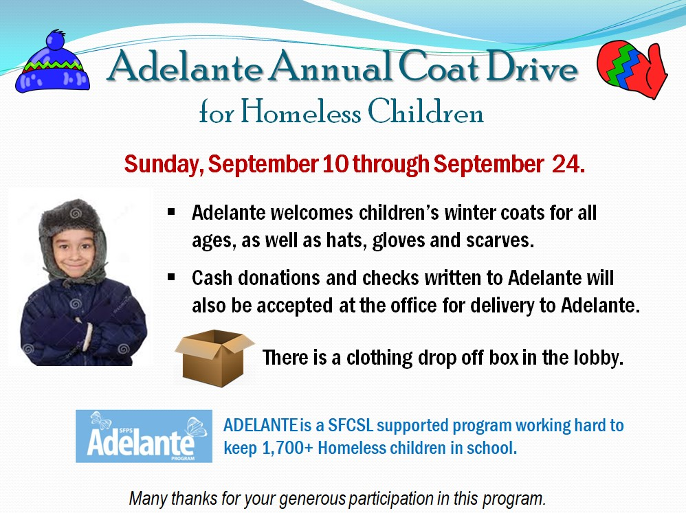 Adelante Annual Coats Drive for Homeless Children @ Santa Fe Center for Spiritual Living | Santa Fe | New Mexico | United States