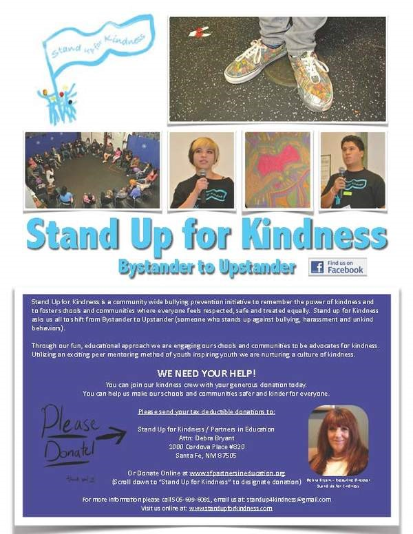 "Change 4 Change Program: The October Recipient is ""Stand Up For Kindness"" @ Santa Fe Center for Spiritual Living"